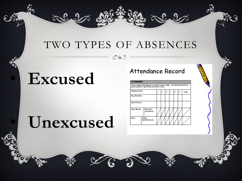 TWO TYPES OF ABSENCES Excused Unexcused