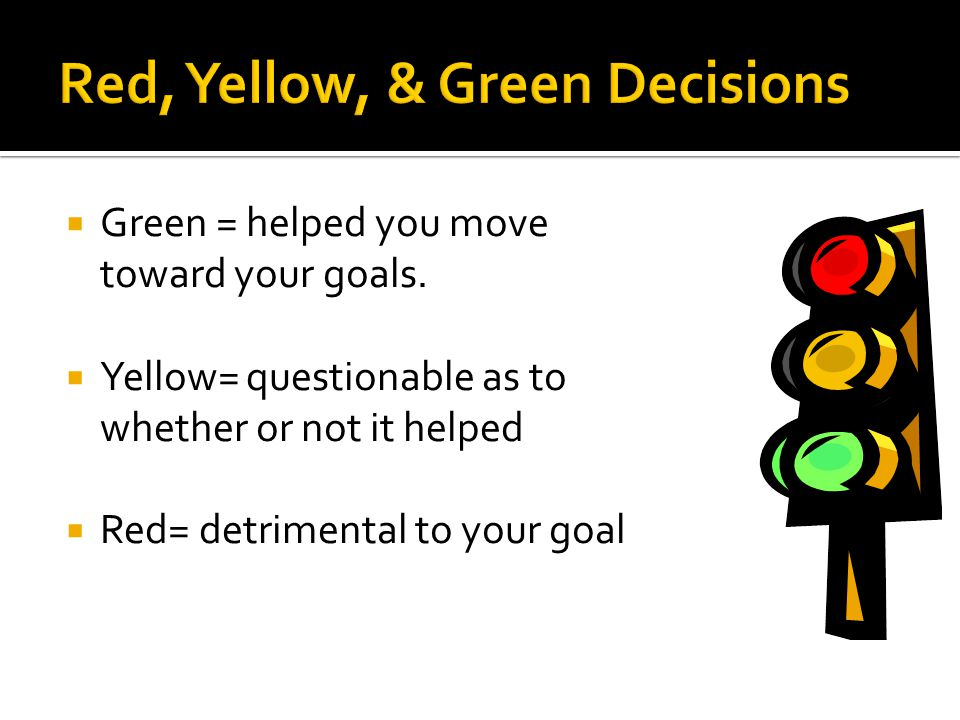  Green = helped you move toward your goals.