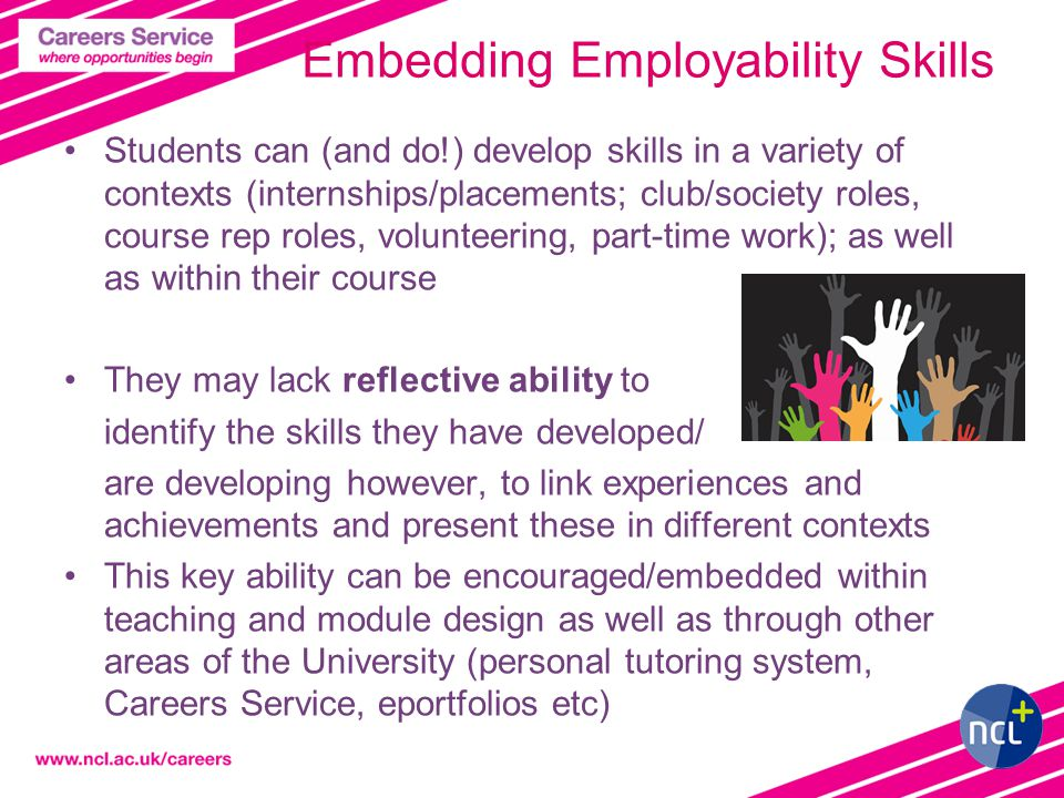 3 Embedding Employability Skills Students can (and do!) develop skills in a variety of contexts (internships/placements; club/society roles, course rep roles, volunteering, part-time work); as well as within their course They may lack reflective ability to identify the skills they have developed/ are developing however, to link experiences and achievements and present these in different contexts This key ability can be encouraged/embedded within teaching and module design as well as through other areas of the University (personal tutoring system, Careers Service, eportfolios etc)