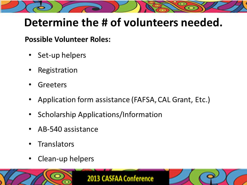 Determine the # of volunteers needed.