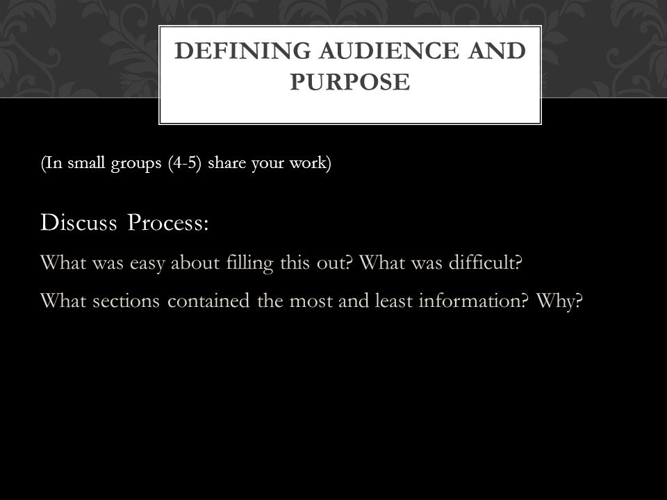 (In small groups (4-5) share your work) Discuss Process: What was easy about filling this out? What was difficult? What sections contained the most an