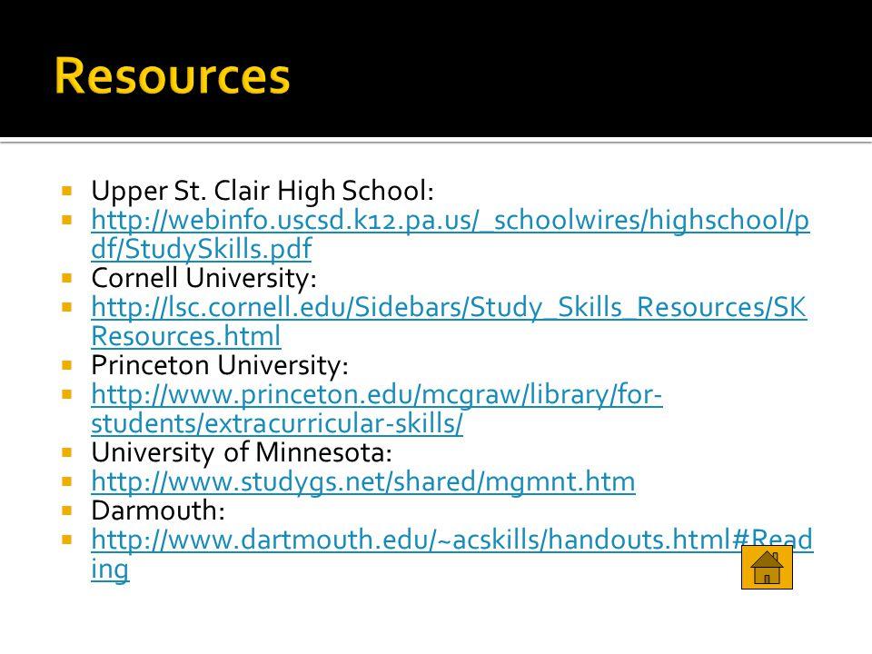  Upper St. Clair High School:  http://webinfo.uscsd.k12.pa.us/_schoolwires/highschool/p df/StudySkills.pdf http://webinfo.uscsd.k12.pa.us/_schoolwir