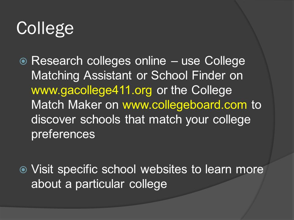 What to look for online. Academic Programs – do they have a major I am interested in.