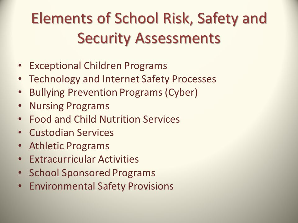 Exceptional Children Programs Technology and Internet Safety Processes Bullying Prevention Programs (Cyber) Nursing Programs Food and Child Nutrition