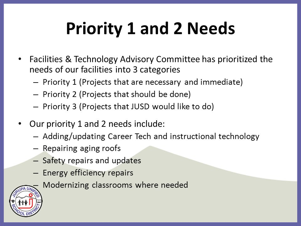 Priority 1 and 2 Needs Facilities & Technology Advisory Committee has prioritized the needs of our facilities into 3 categories – Priority 1 (Projects that are necessary and immediate) – Priority 2 (Projects that should be done) – Priority 3 (Projects that JUSD would like to do) Our priority 1 and 2 needs include: – Adding/updating Career Tech and instructional technology – Repairing aging roofs – Safety repairs and updates – Energy efficiency repairs – Modernizing classrooms where needed