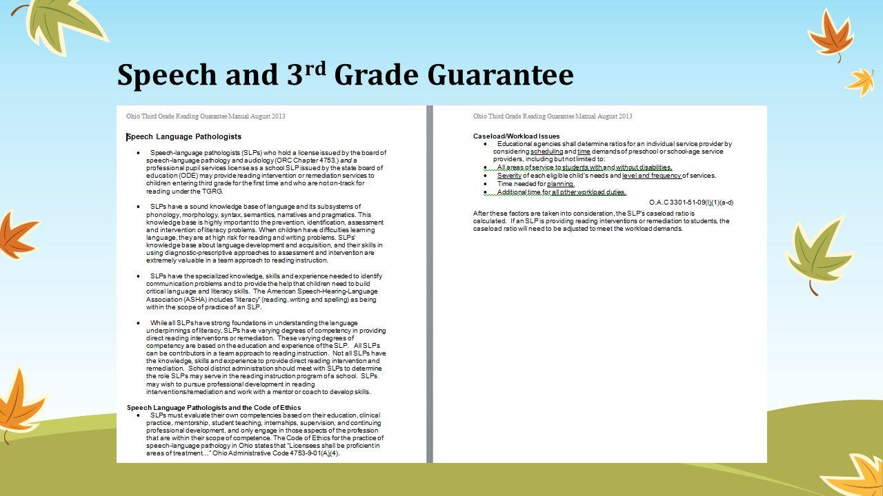 Speech and 3 rd Grade Guarantee