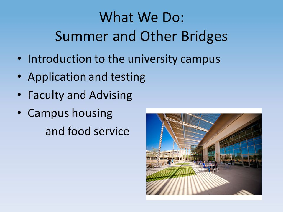 What We Do: Summer and Other Bridges Introduction to the university campus Application and testing Faculty and Advising Campus housing and food service