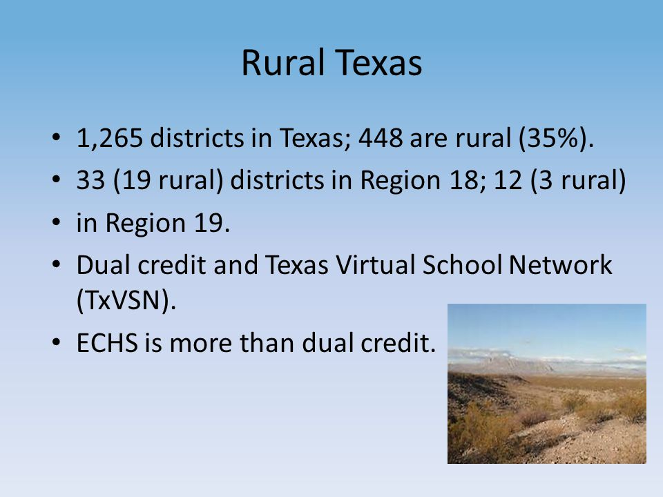Rural Texas 1,265 districts in Texas; 448 are rural (35%).