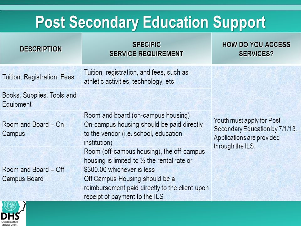 Post Secondary Education Support DESCRIPTIONSPECIFIC SERVICE REQUIREMENT HOW DO YOU ACCESS SERVICES? Tuition, Registration, Fees Tuition, registration