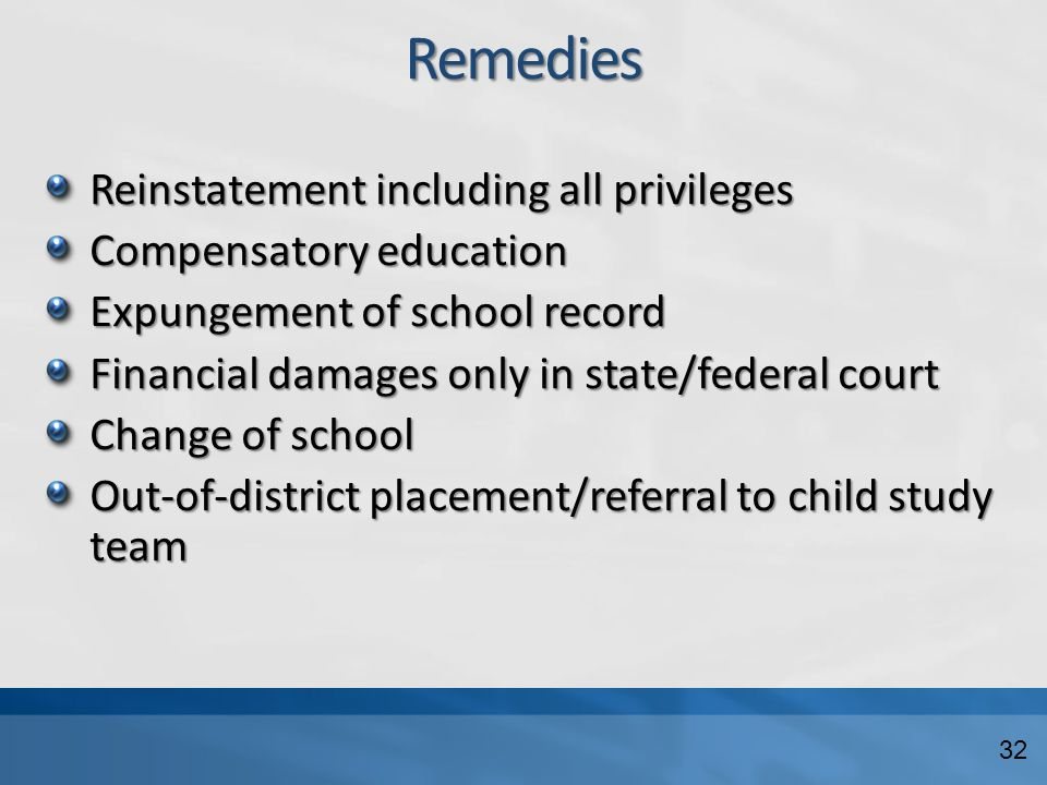 Remedies Reinstatement including all privileges Compensatory education Expungement of school record Financial damages only in state/federal court Change of school Out-of-district placement/referral to child study team 32