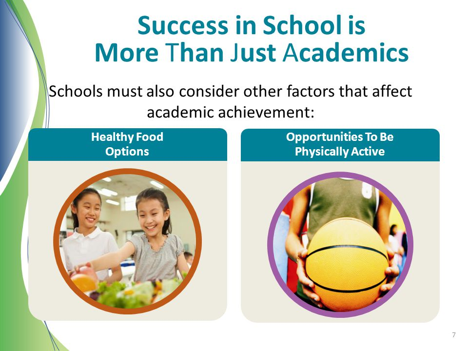 Healthy Food Options Success in School is More Than Just Academics Schools must also consider other factors that affect academic achievement: Healthy