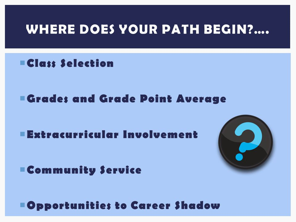  Class Selection  Grades and Grade Point Average  Extracurricular Involvement  Community Service  Opportunities to Career Shadow WHERE DOES YOUR PATH BEGIN ….