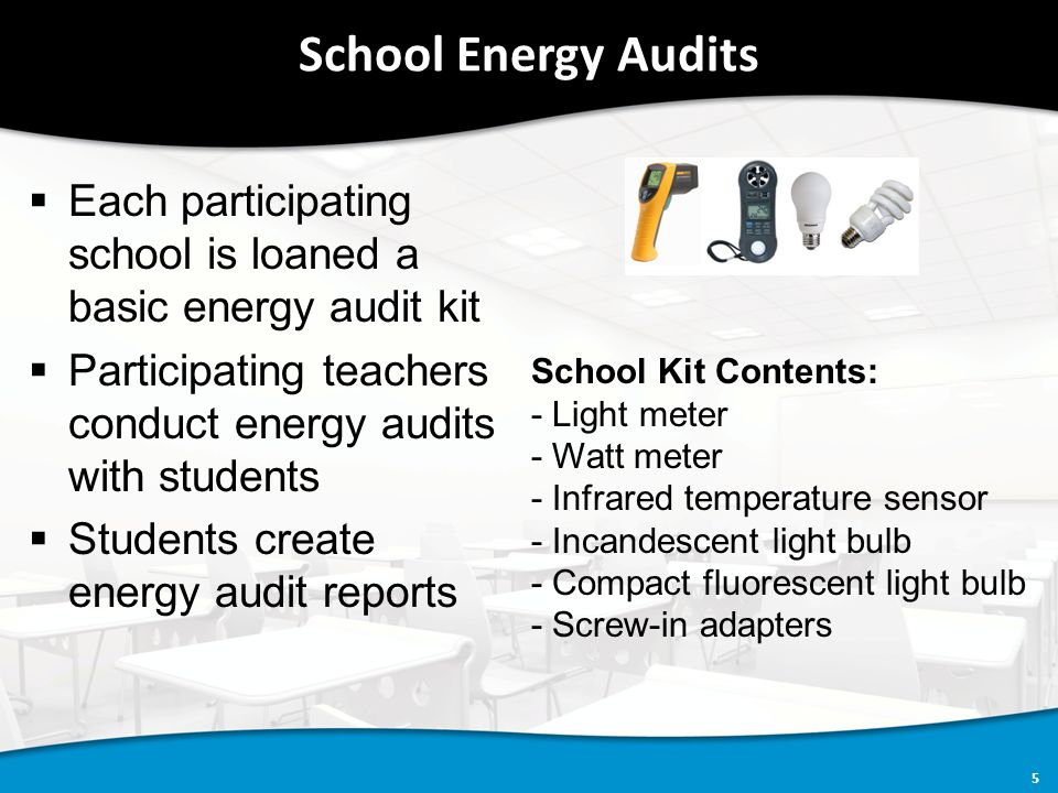 5 School Energy Audits  Each participating school is loaned a basic energy audit kit  Participating teachers conduct energy audits with students  Students create energy audit reports School Kit Contents: - Light meter - Watt meter - Infrared temperature sensor - Incandescent light bulb - Compact fluorescent light bulb - Screw-in adapters
