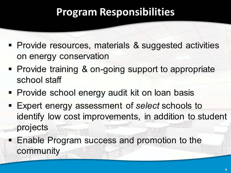 10 Program Steps  Fill out & submit customer application  If approved, sign Memorandum of Understanding  Provide orientation, training, materials, equipment  Conduct the Program at the school -Subject content -Suggested activities -School-wide initiatives  Promote Program success