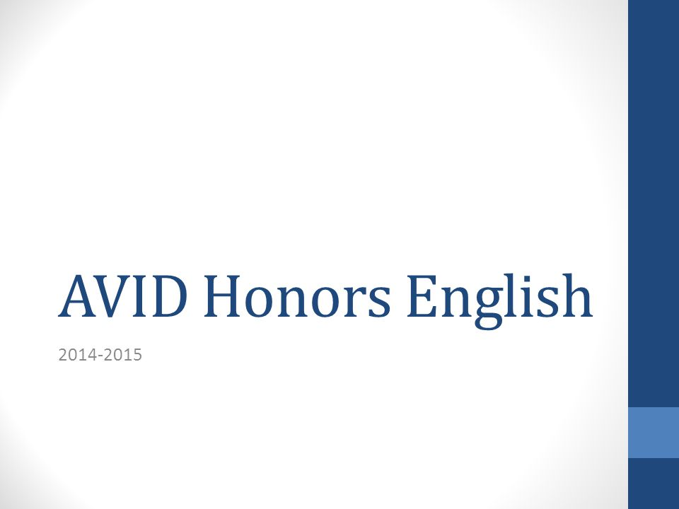 AVID Honors English 2014-2015