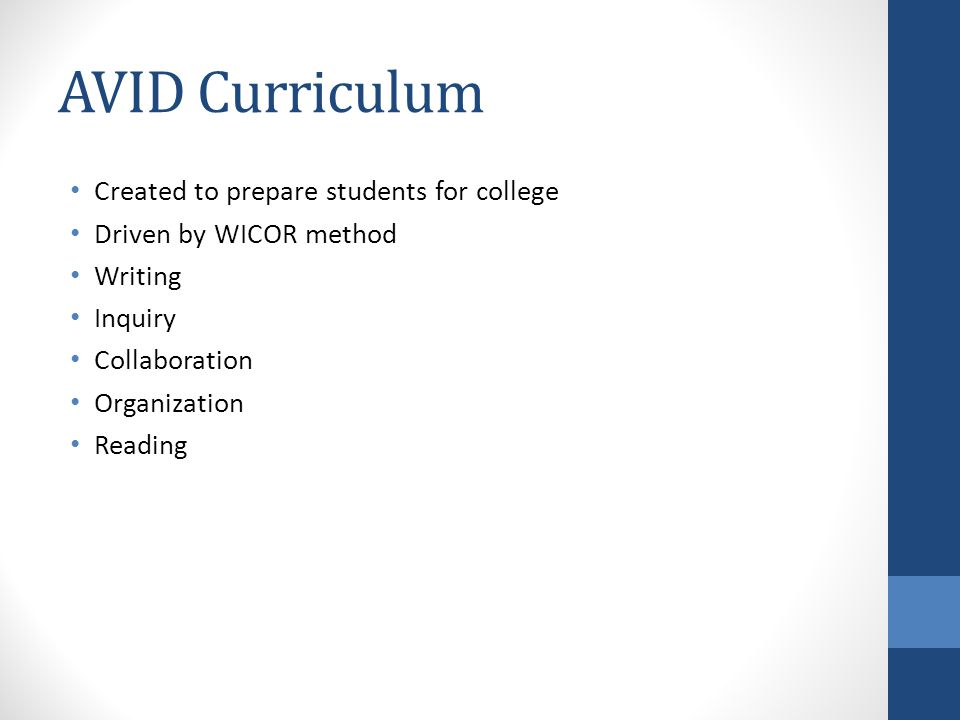 AVID Curriculum Created to prepare students for college Driven by WICOR method Writing Inquiry Collaboration Organization Reading