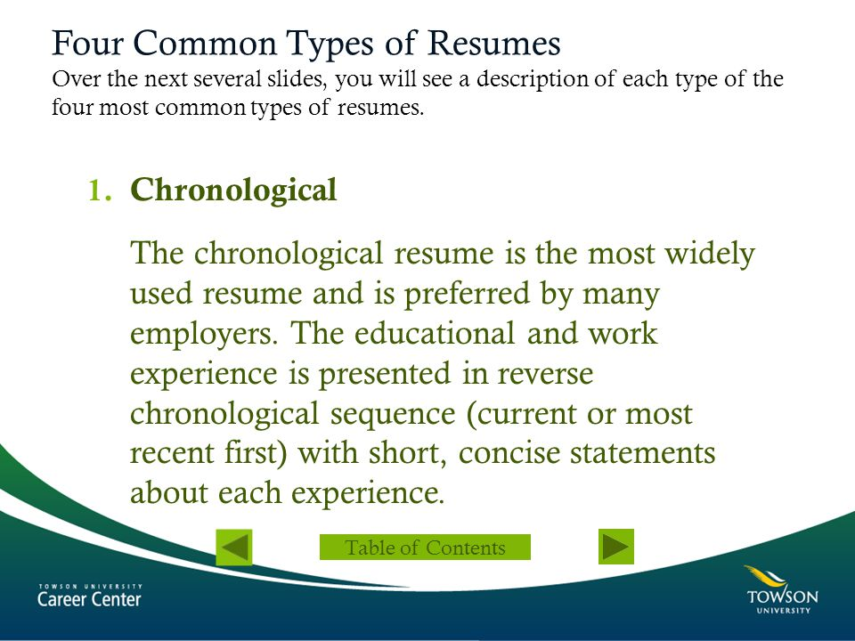 Four Common Types of Resumes 2.