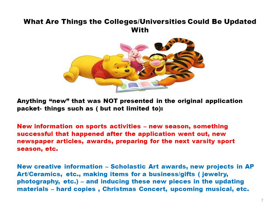 What Are Things the Colleges/Universities Could Be Updated With Anything new that was NOT presented in the original application packet- things such as ( but not limited to): New information on sports activities – new season, something successful that happened after the application went out, new newspaper articles, awards, preparing for the next varsity sport season, etc.