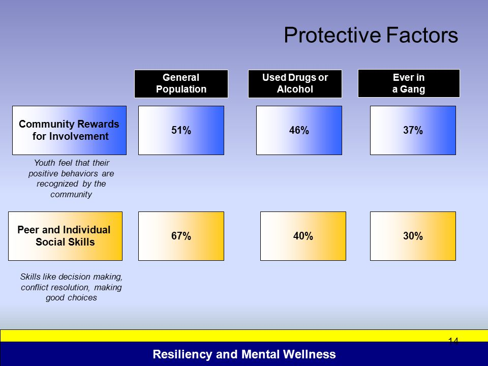 Resiliency and Mental Wellness 14 Protective Factors Community Rewards for Involvement Ever in a Gang General Population 51%37% Peer and Individual So