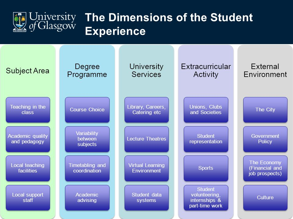 The Dimensions of the Student Experience Subject Area Teaching in the class Academic quality and pedagogy Local teaching facilities Local support staf