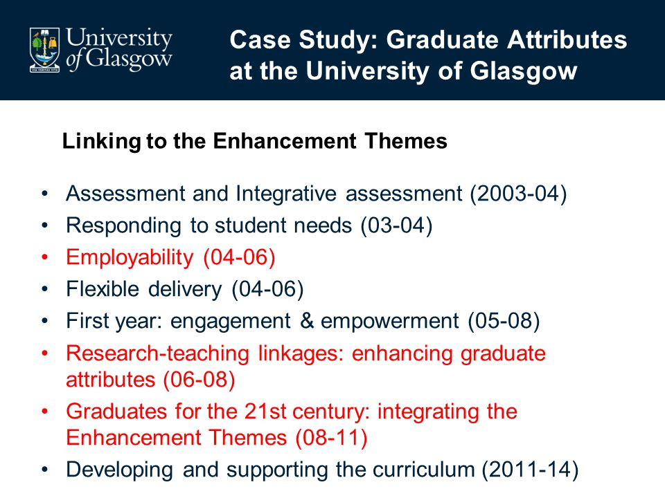 Assessment and Integrative assessment (2003-04) Responding to student needs (03-04) Employability (04-06) Flexible delivery (04-06) First year: engage