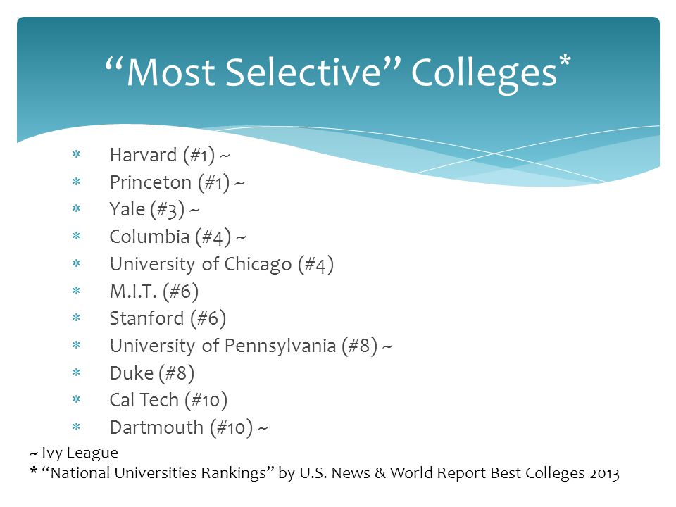  Harvard (#1) ~  Princeton (#1) ~  Yale (#3) ~  Columbia (#4) ~  University of Chicago (#4)  M.I.T.