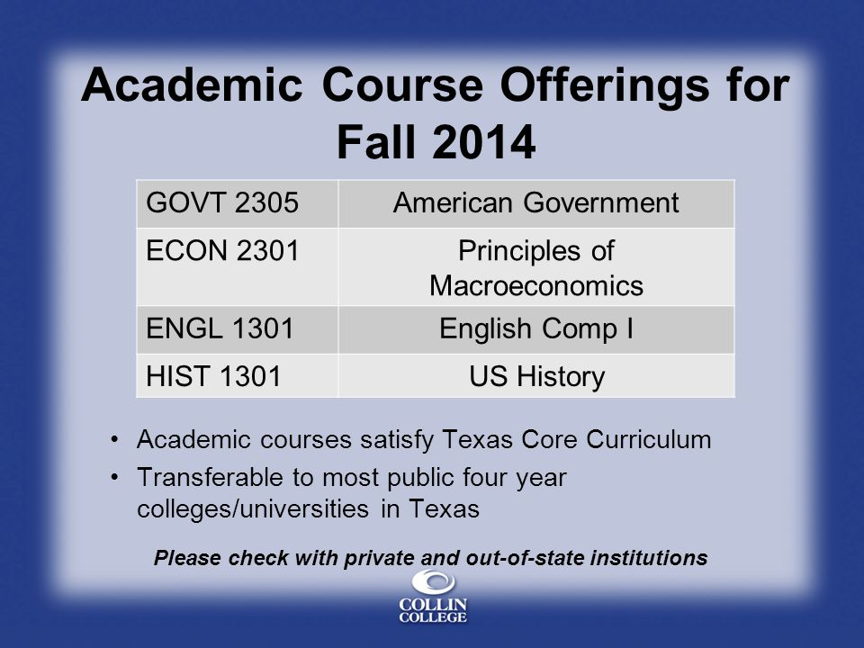 Academic Course Offerings for Fall 2014 GOVT 2305American Government ECON 2301Principles of Macroeconomics ENGL 1301English Comp I HIST 1301US History Academic courses satisfy Texas Core Curriculum Transferable to most public four year colleges/universities in Texas Please check with private and out-of-state institutions