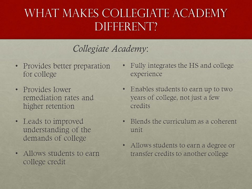What makes Collegiate academy different? Provides better preparation for collegeProvides better preparation for college Provides lower remediation rat