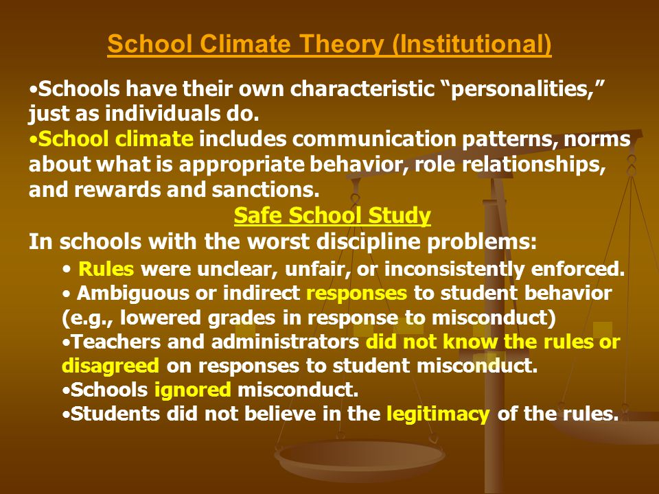 School Climate Theory (Institutional) Schools have their own characteristic personalities, just as individuals do.