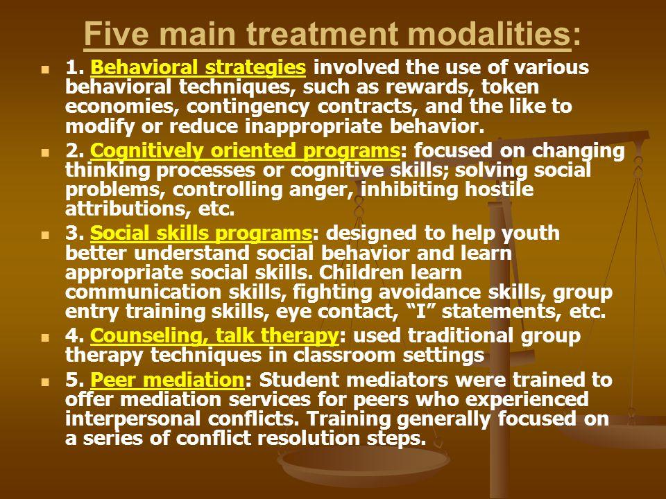 Five main treatment modalities: 1.