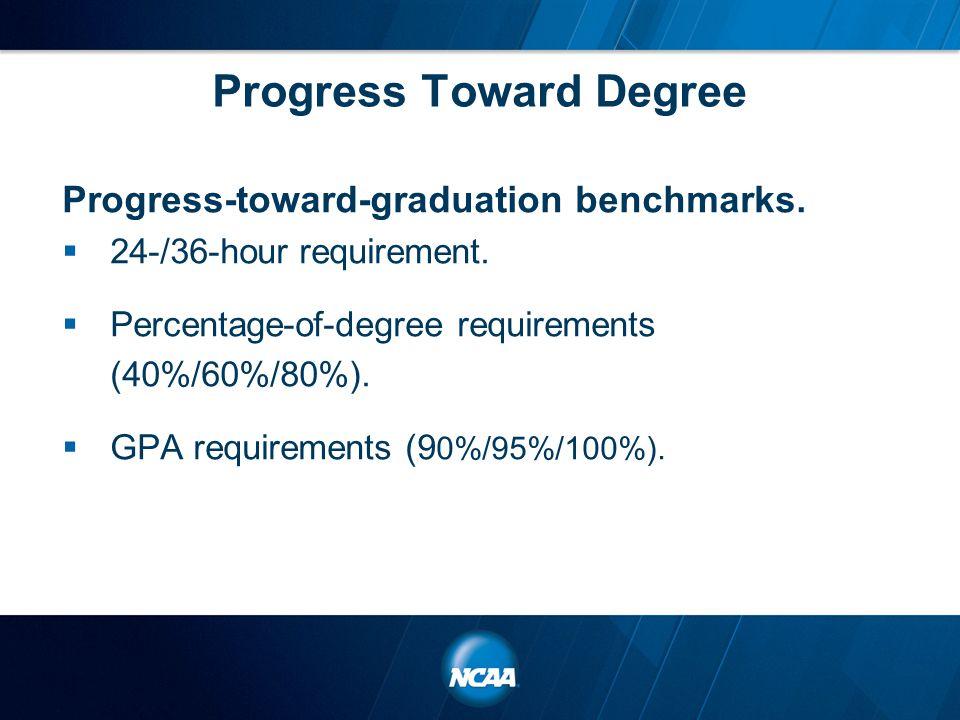 Progress Toward Degree Progress-toward-graduation benchmarks.