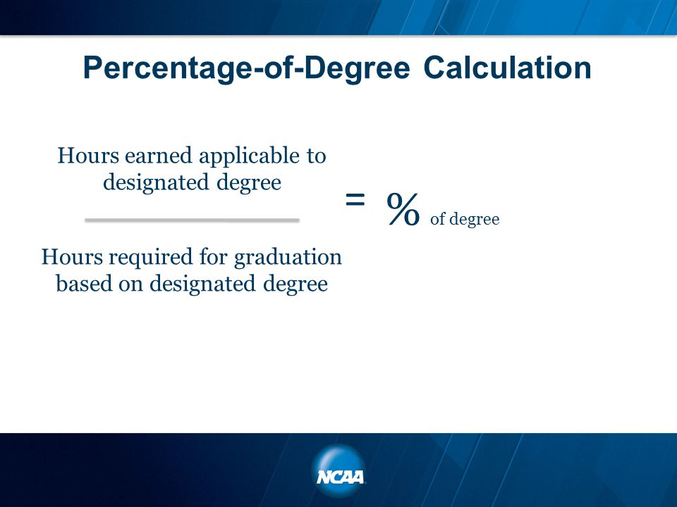 Percentage-of-Degree Calculation Hours required for graduation based on designated degree Hours earned applicable to designated degree = % of degree