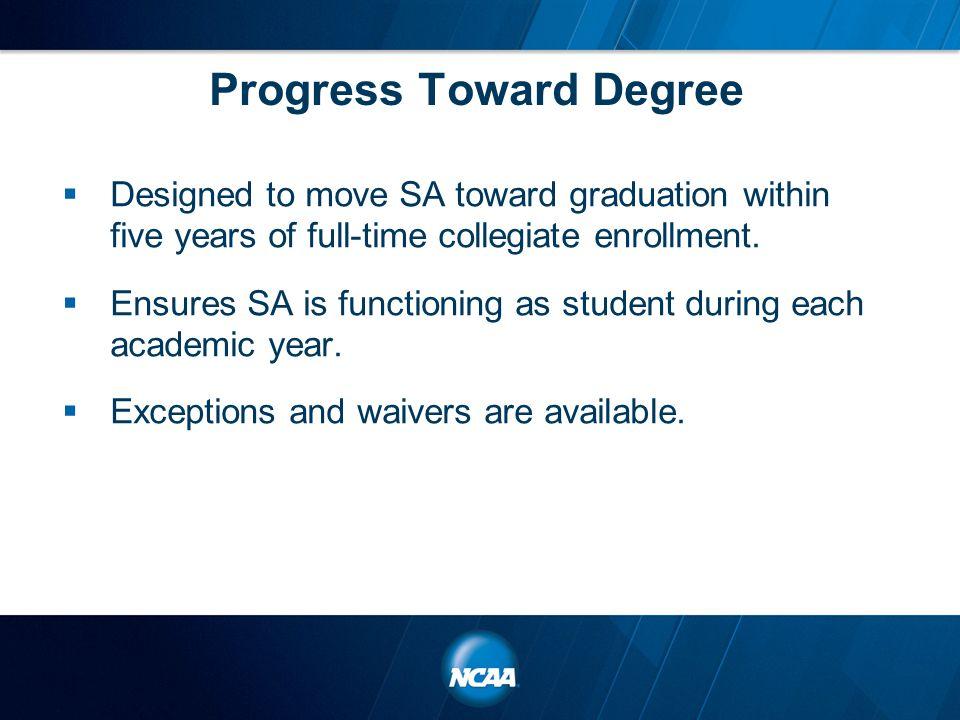 Progress Toward Degree Academic year credit-hour requirements.