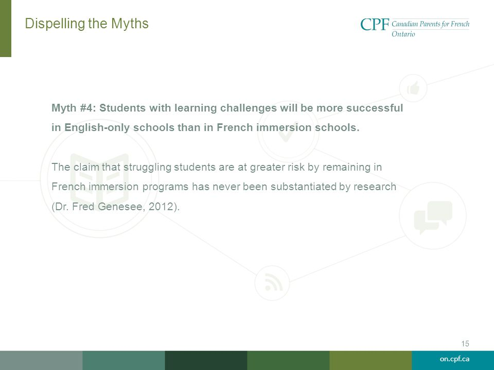 on.cpf.ca Dispelling the Myths Myth #4: Students with learning challenges will be more successful in English-only schools than in French immersion sch