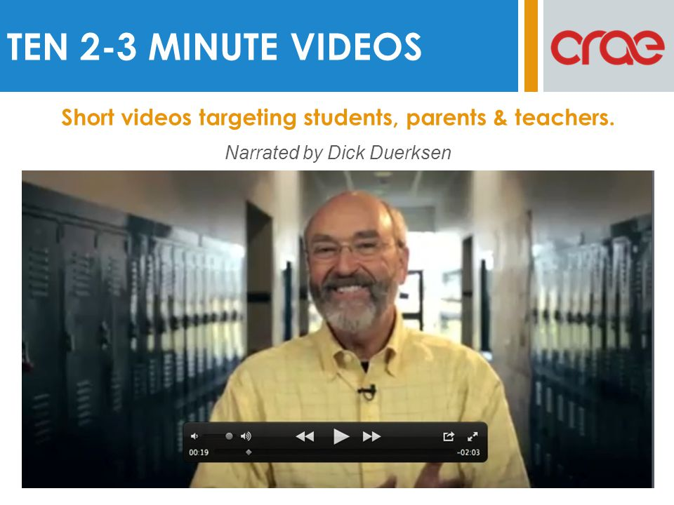 TEN 2-3 MINUTE VIDEOS Short videos targeting students, parents & teachers.