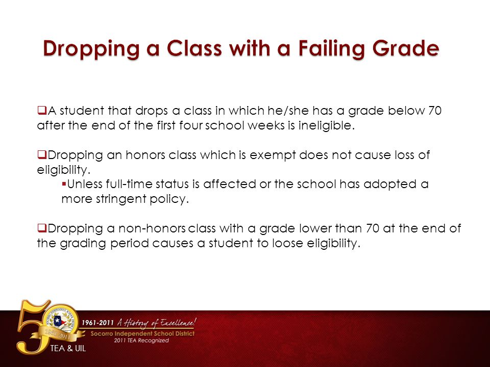  A student that drops a class in which he/she has a grade below 70 after the end of the first four school weeks is ineligible.
