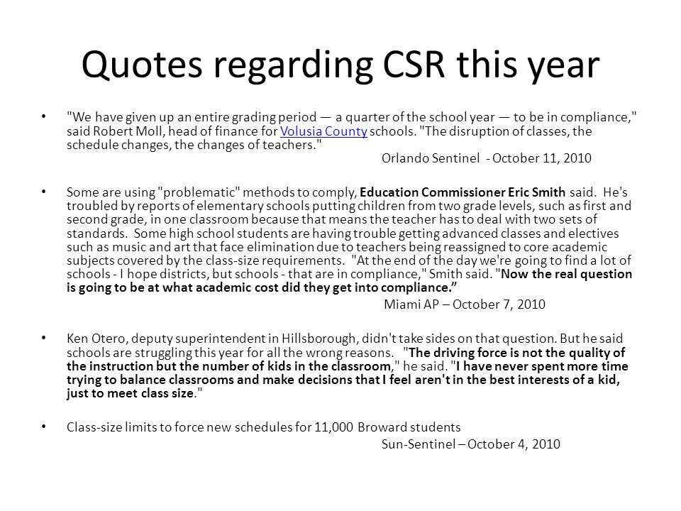Quotes regarding CSR this year