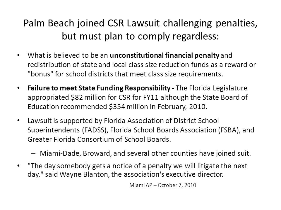 Palm Beach joined CSR Lawsuit challenging penalties, but must plan to comply regardless: What is believed to be an unconstitutional financial penalty