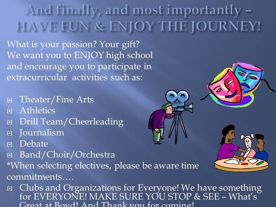 What is your passion? Your gift? We want you to ENJOY high school and encourage you to participate in extracurricular activities such as:  Theater/Fi