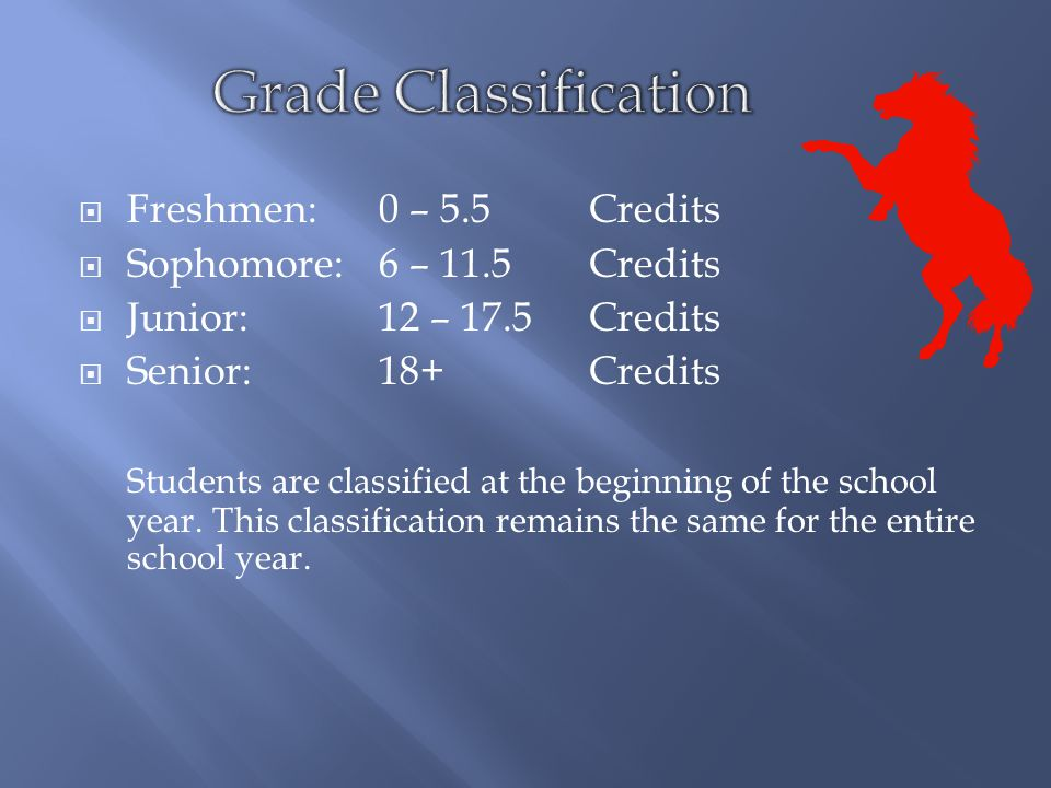  Freshmen:0 – 5.5Credits  Sophomore:6 – 11.5Credits  Junior:12 – 17.5Credits  Senior:18+Credits Students are classified at the beginning of the school year.