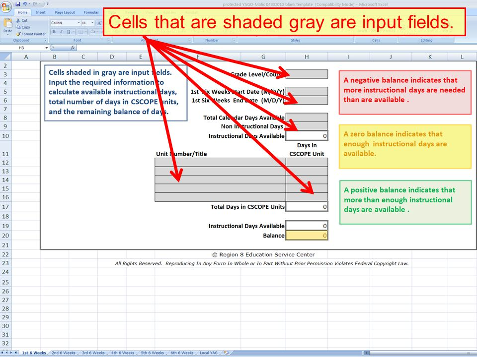 Cells that are shaded gray are input fields.