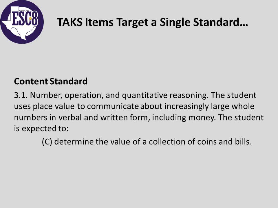 TAKS Items Target a Single Standard… Content Standard 3.1.