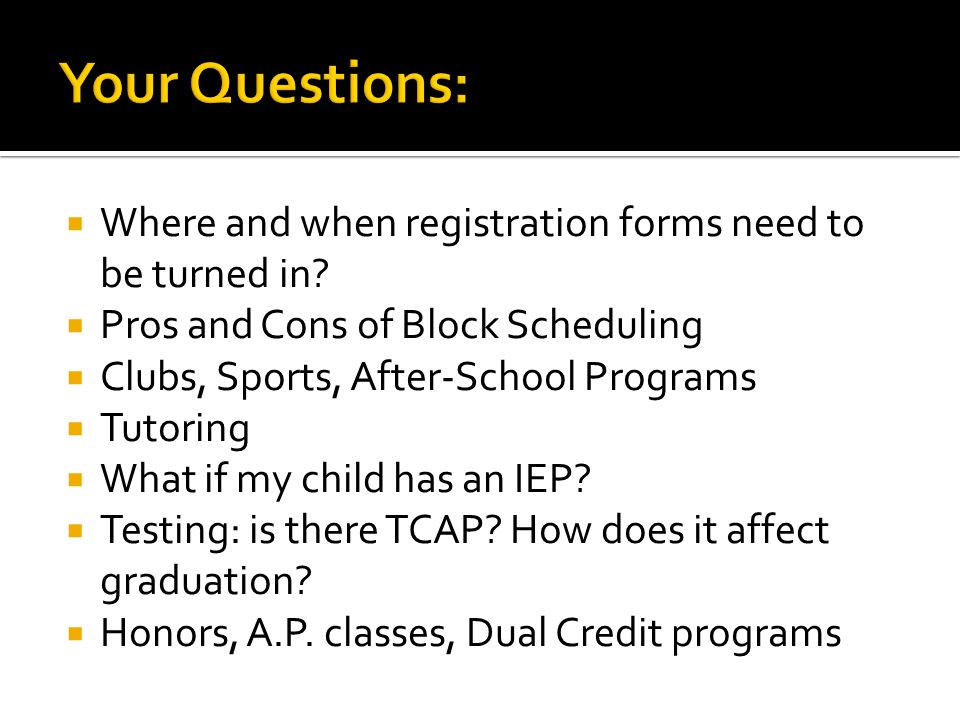 FAQ's When do we start. What are credits. What is the difference, Honors vs.