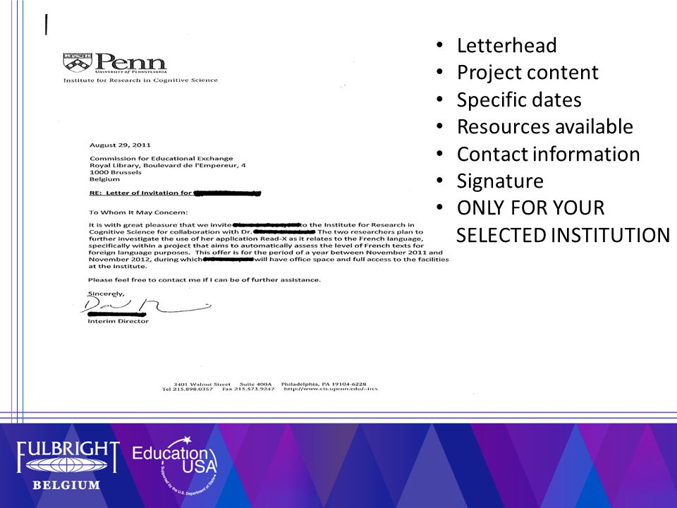 Letterhead Project content Specific dates Resources available Contact information Signature ONLY FOR YOUR SELECTED INSTITUTION