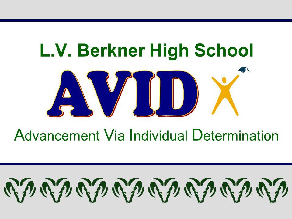 L.V. Berkner High School A dvancement V ia I ndividual D etermination