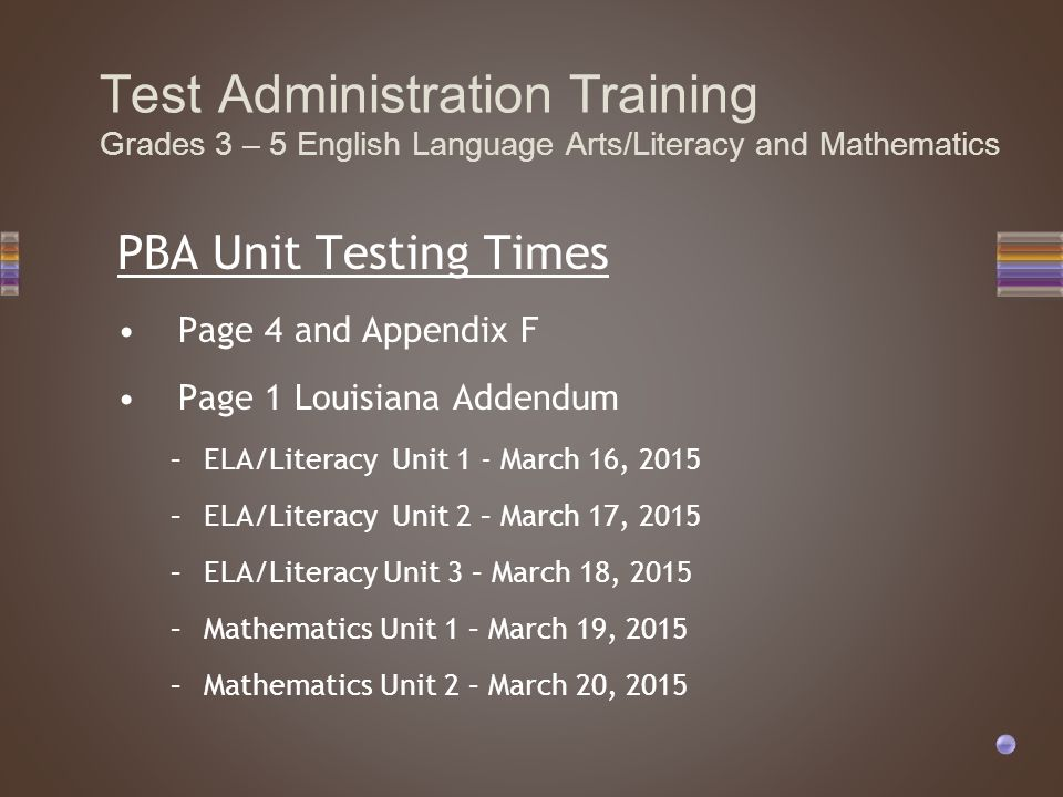 PBA Unit Testing Times Page 4 and Appendix F Page 1 Louisiana Addendum –ELA/Literacy Unit 1 - March 16, 2015 –ELA/Literacy Unit 2 – March 17, 2015 –EL