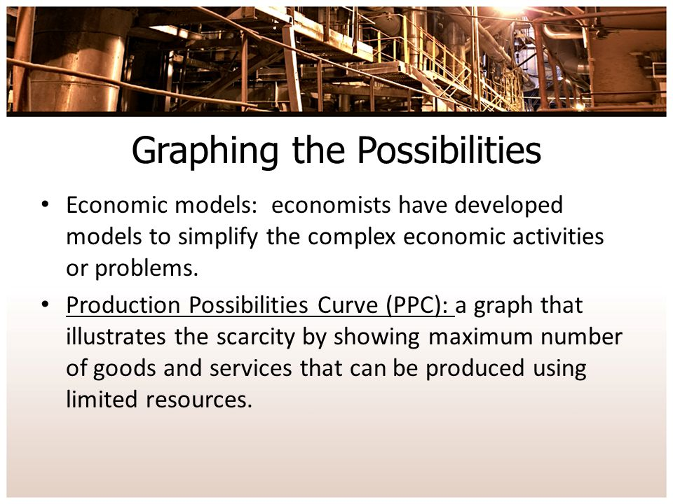 Graphing the Possibilities Economic models: economists have developed models to simplify the complex economic activities or problems.