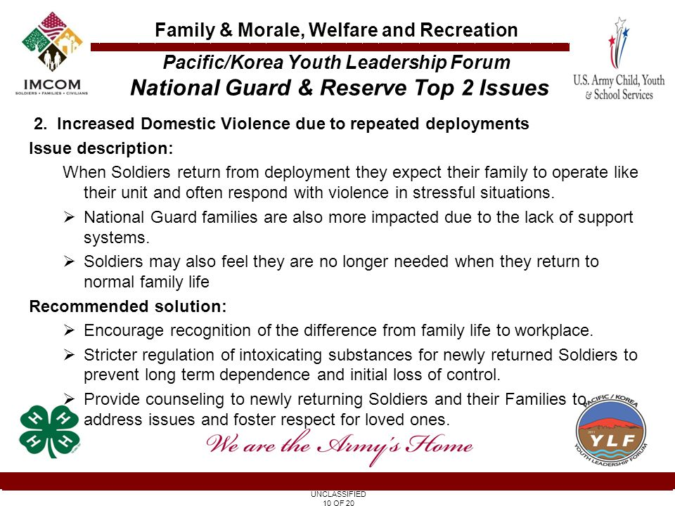 UNCLASSIFIED 10 OF 20 Family & Morale, Welfare and Recreation 2.