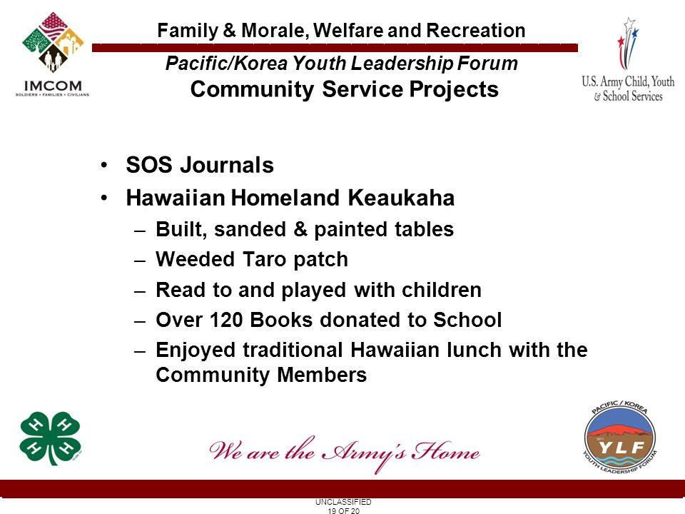 UNCLASSIFIED 19 OF 20 Family & Morale, Welfare and Recreation SOS Journals Hawaiian Homeland Keaukaha –Built, sanded & painted tables –Weeded Taro patch –Read to and played with children –Over 120 Books donated to School –Enjoyed traditional Hawaiian lunch with the Community Members Pacific/Korea Youth Leadership Forum Community Service Projects