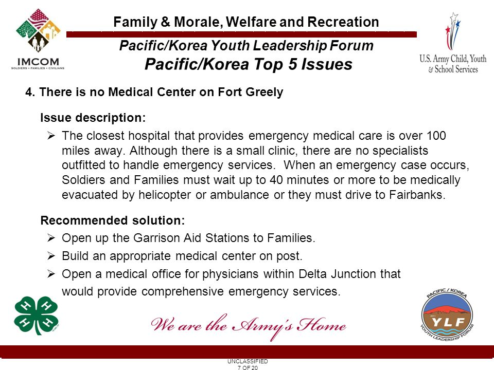 UNCLASSIFIED 7 OF 20 Family & Morale, Welfare and Recreation 4.